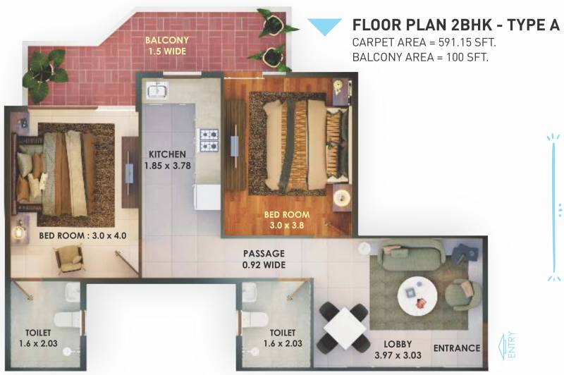 Pyramid Fusion Homes (2BHK+2T (591.15 sq ft) 591.15 sq ft)