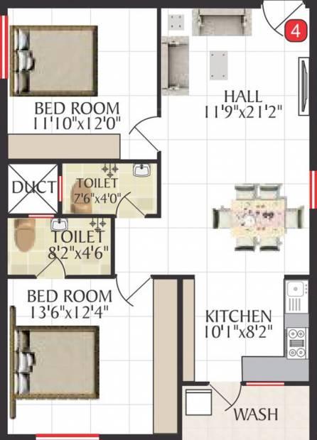 Jai Bharathi Mansion (2BHK+2T (1,115 sq ft) 1115 sq ft)