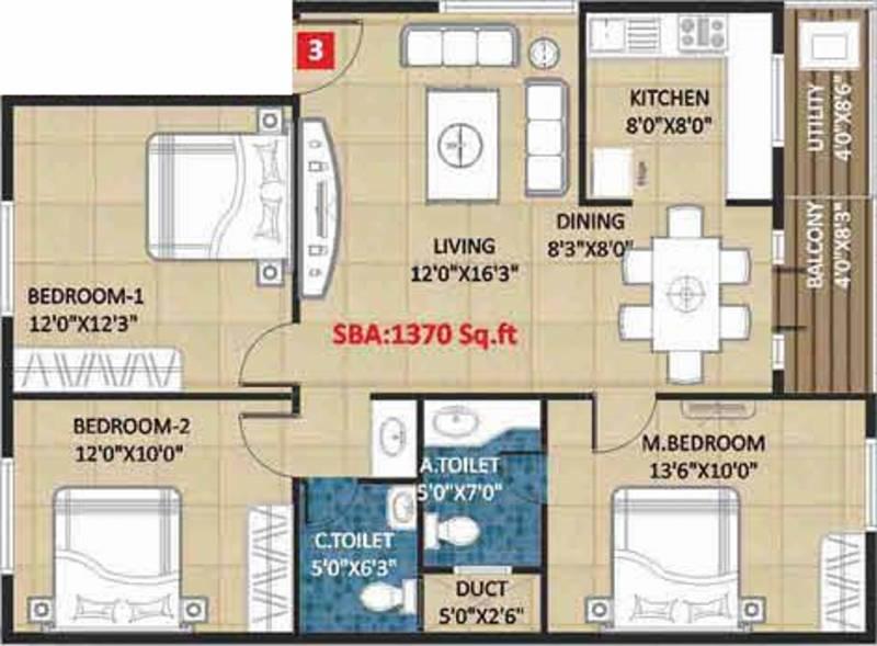 Kingston Royale (3BHK+2T (1,370 sq ft) 1370 sq ft)