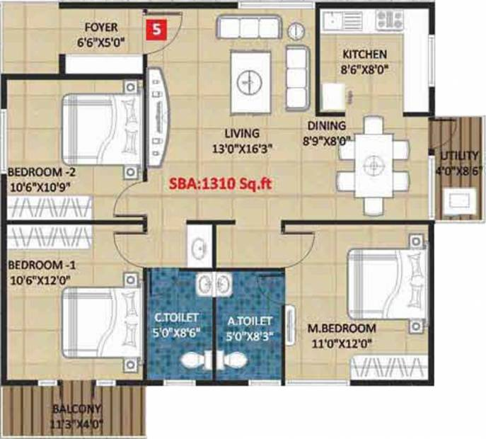Kingston Royale (3BHK+2T (1,310 sq ft) 1310 sq ft)