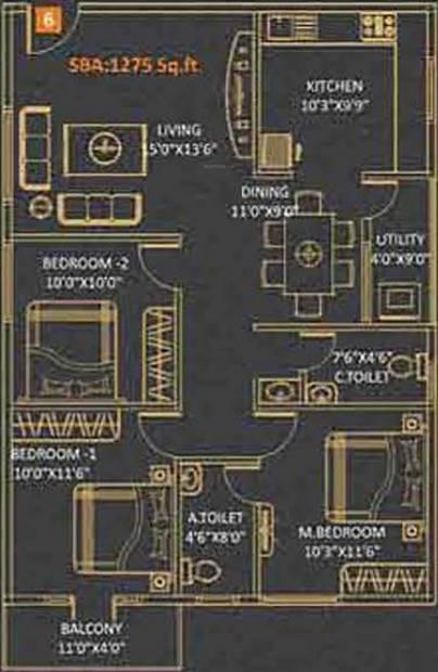Kingston Royale (3BHK+2T (1,275 sq ft) 1275 sq ft)