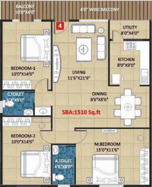 Kingston Royale (3BHK+2T (1,510 sq ft) 1510 sq ft)