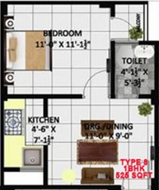 Kritak Rzone Homes (1BHK+1T (525 sq ft) 525 sq ft)