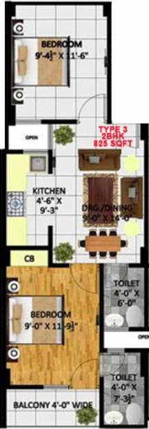 Kritak Rzone Homes (2BHK+2T (825 sq ft) 825 sq ft)
