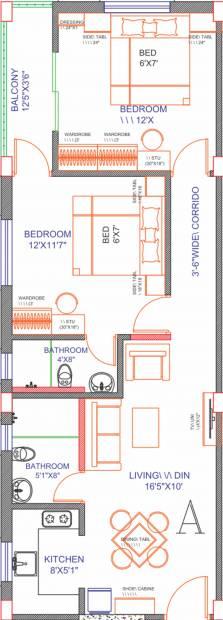 Chandrali Arcade (2BHK+2T (902 sq ft) 902 sq ft)