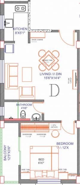 Chandrali Arcade (1BHK+1T (657 sq ft) 657 sq ft)