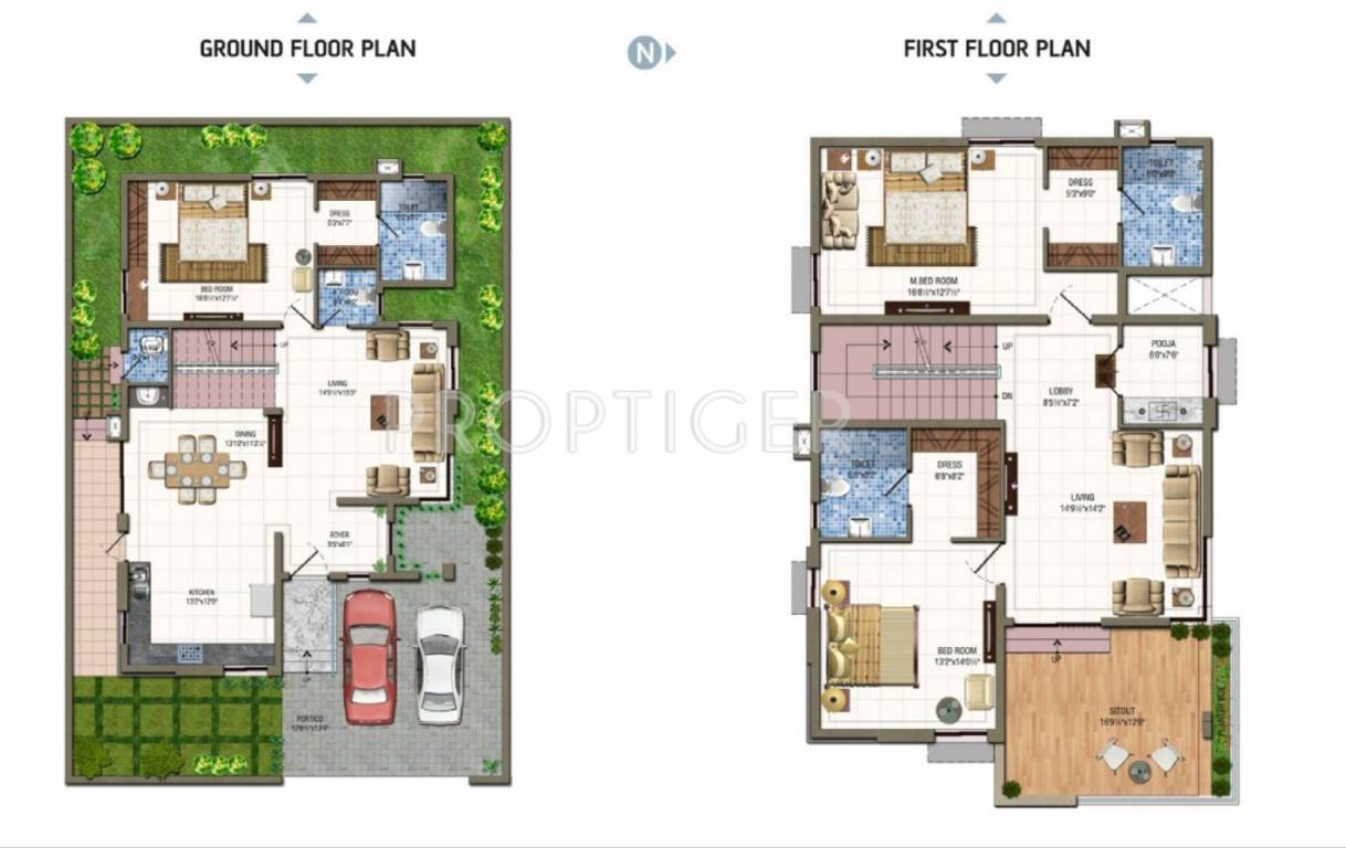3000 sq ft 3 bhk 4t villa for sale in aparna constructions for Apartment floor plans 3000 sq ft