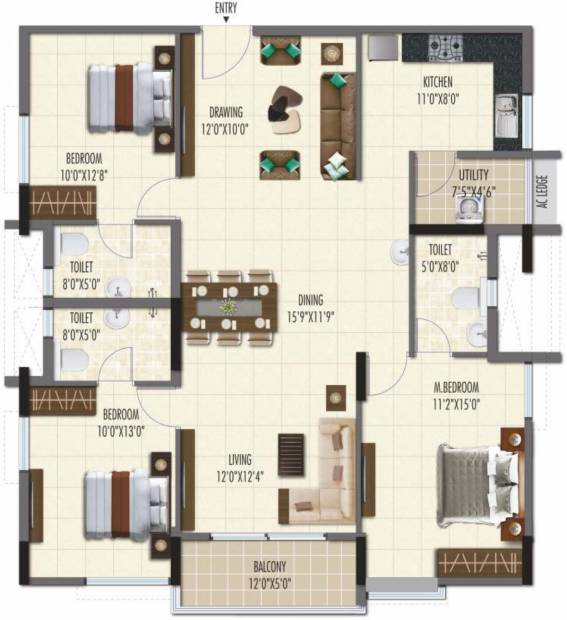 Ramky One Galaxia Phase II (3BHK+3T (1,664.96 sq ft) 1664.96 sq ft)