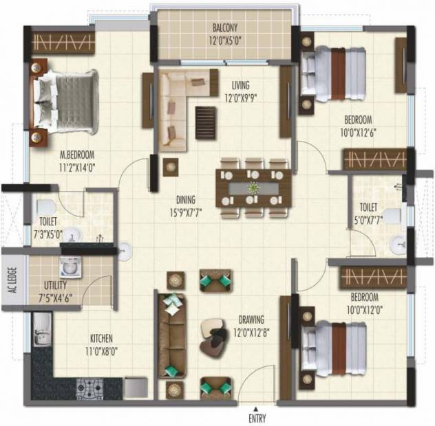 Ramky One Galaxia Phase II (2BHK+2T (1,511.04 sq ft) + Study Room 1511.04 sq ft)