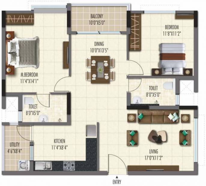 Ramky One Galaxia Phase II (2BHK+2T (1,264.97 sq ft) 1264.97 sq ft)