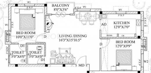 925 Sq Ft 2 Bhk 2t Apartment For Sale In Guru Homes