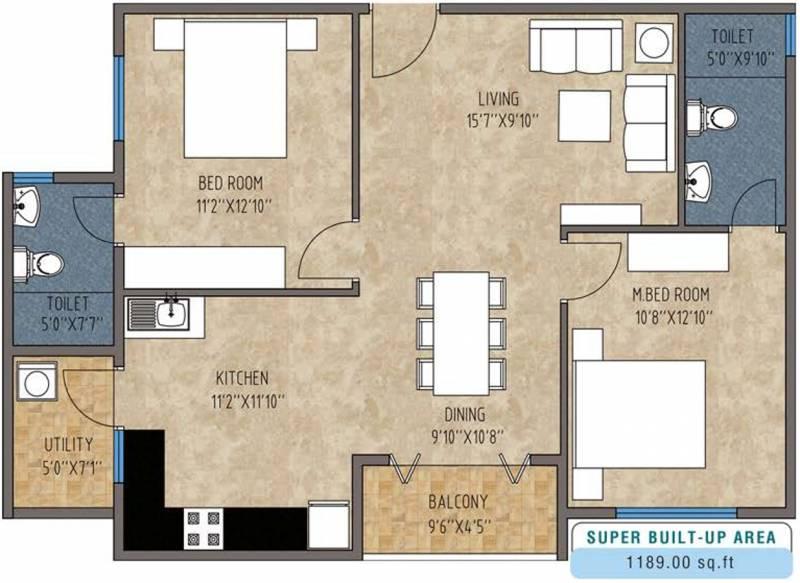 Mithuna White Bells (2BHK+2T (1,189 sq ft) 1189 sq ft)
