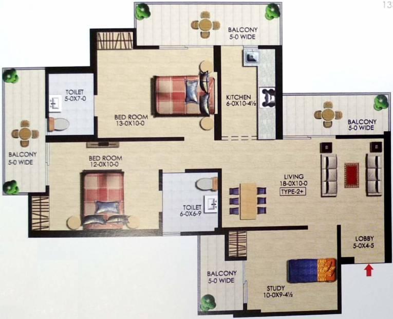 Uppal Casa Woodstock (2BHK+2T (1,113 sq ft) 1113 sq ft)