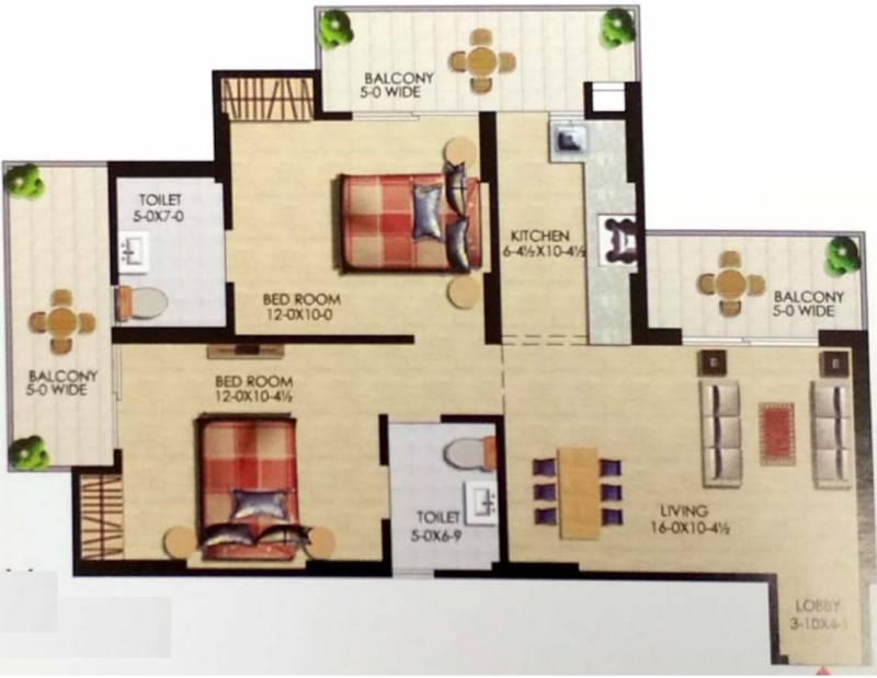Uppal Casa Woodstock (2BHK+2T (1,115 sq ft) 1115 sq ft)
