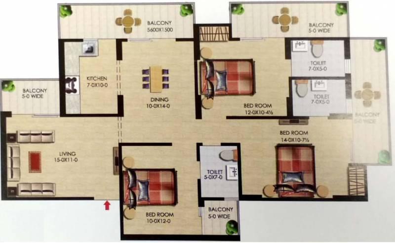 Uppal Casa Woodstock (3BHK+3T (1,688 sq ft) 1688 sq ft)