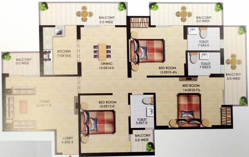 Uppal Casa Woodstock (3BHK+3T (1,712 sq ft) 1712 sq ft)