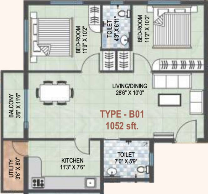KMN Calista (2BHK+2T (1,052 sq ft) 1052 sq ft)
