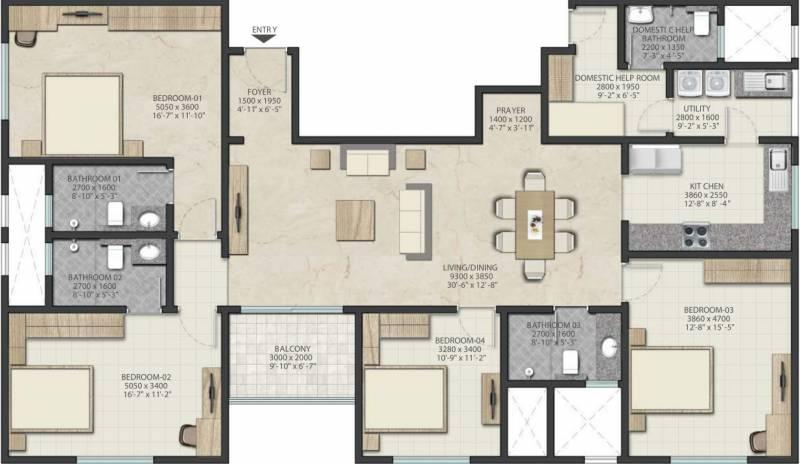 Sobha Royal Pavilion Phase 3 Wing 16 (4BHK+4T (2,182 sq ft) 2182 sq ft)