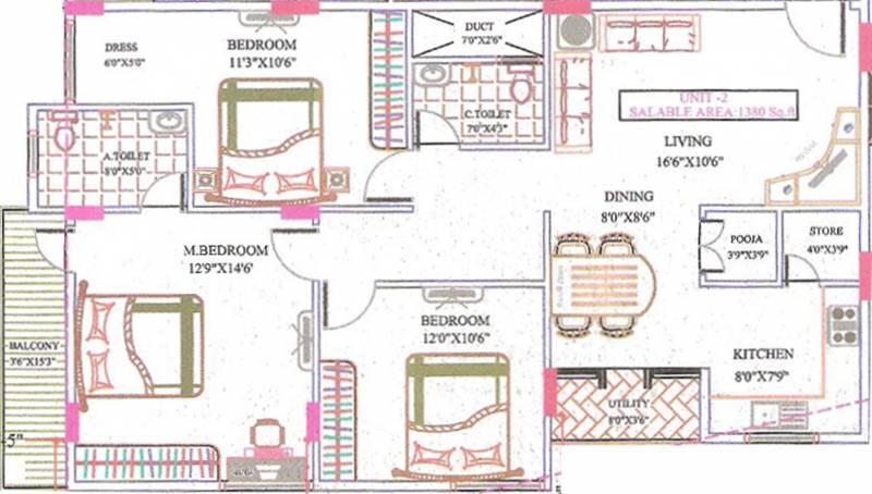 Murali Mohana Vidhyapeeta Murali Mohan (3BHK+2T (1,380 sq ft) + Pooja Room 1380 sq ft)