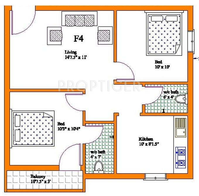 800 Sq Ft 2 Bhk Floor Plan Image
