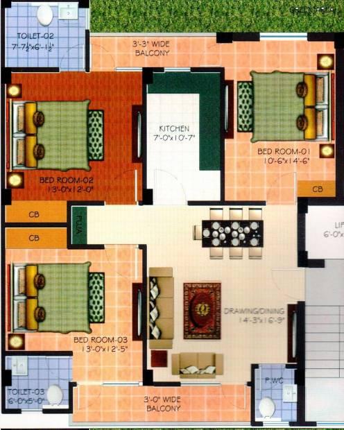 Hunny Tani Homes (3BHK+3T (1,450 sq ft) 1450 sq ft)