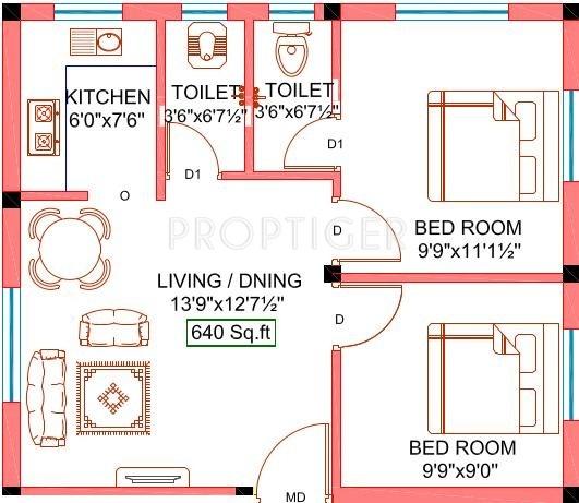 640 Sq Ft 2 Bhk 2t Apartment For Sale In Sekaran Realties