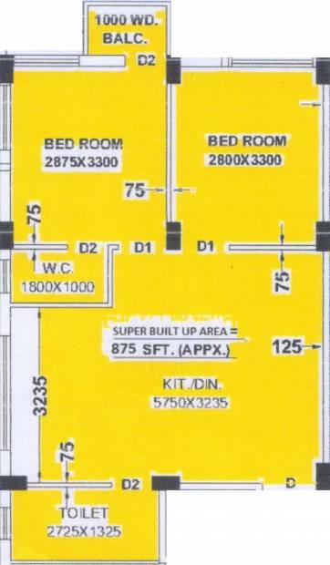 FM Aarav Villa (2BHK+2T (875 sq ft) 875 sq ft)