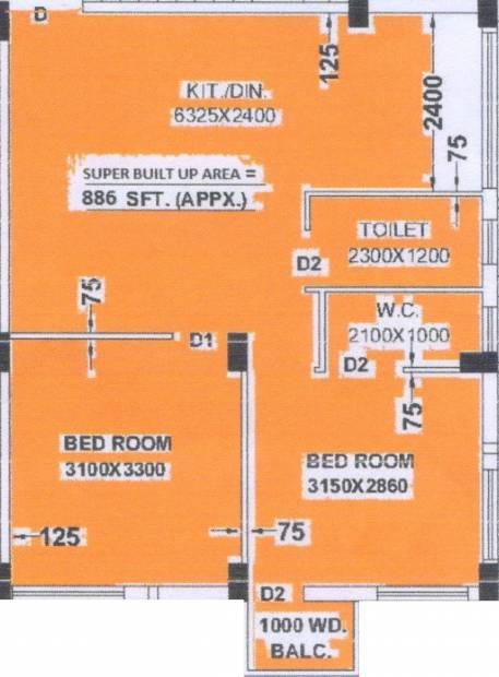 FM Aarav Villa (2BHK+2T (886 sq ft) 886 sq ft)