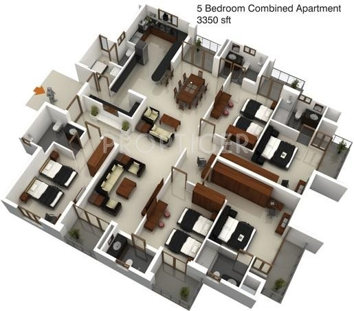 2 Or 3 Bhk Flat Interior Designing Cost In Kolkata: 3350 Sq Ft 5 BHK 5T Apartment For Sale In Mohtisham