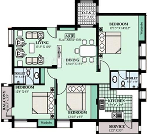 Maxis Padmam Floor Plan (3BHK+2T)