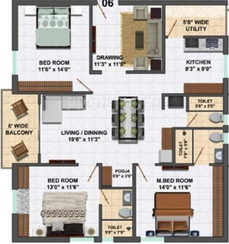 1690 sq ft 3 bhk 3t apartment for sale in my home vihanga 3bhk house plan
