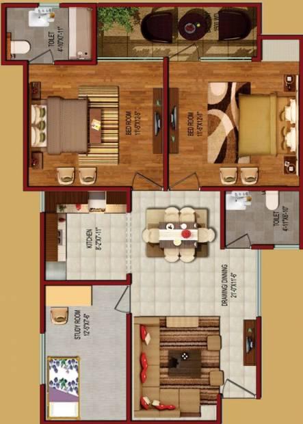 Vivacity Viva City (2BHK+2T (960 sq ft) + Study Room 960 sq ft)