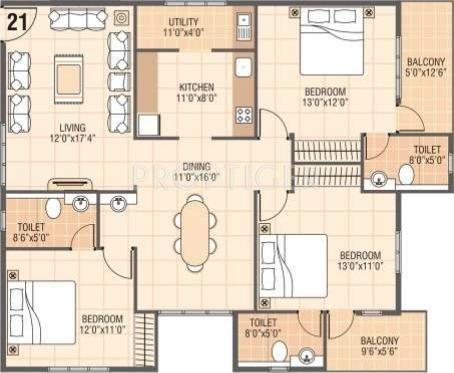 1800 sq ft 3 BHK + 3T Apartments in Vars Builders Parkwood ...
