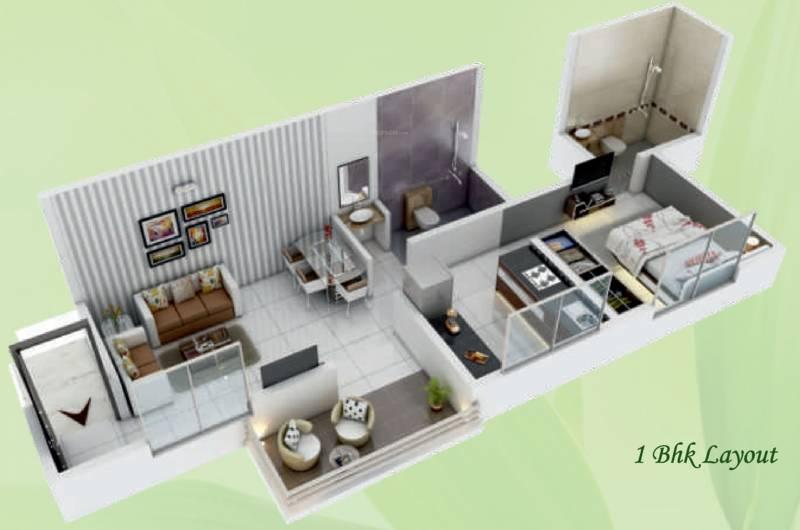 GK Royale Rahadki Greens New Phase 1 AND 2 BHK Energy Homes (1BHK+1T (463 sq ft) 463 sq ft)