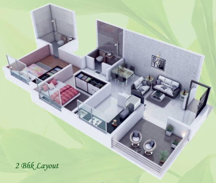 GK Royale Rahadki Greens New Phase 1 AND 2 BHK Energy Homes (2BHK+2T (656 sq ft) 656 sq ft)