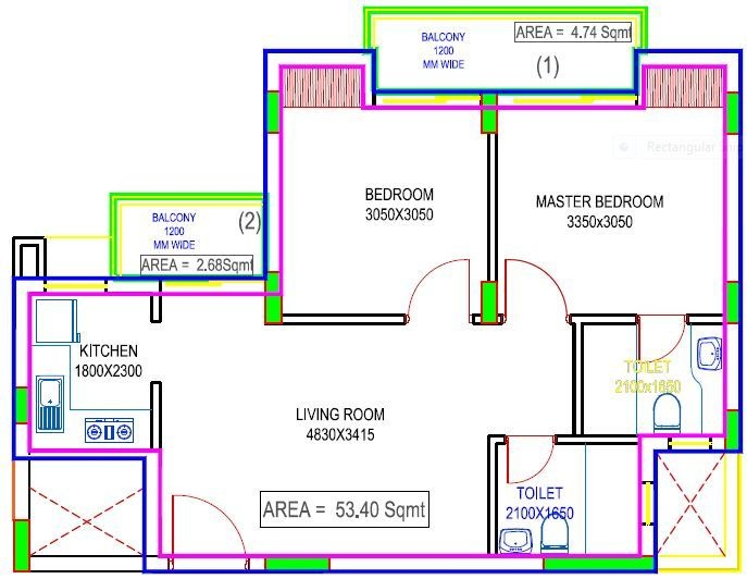 Excella Excella Kutumb Phase II (2BHK+2T (574.79 sq ft) 574.79 sq ft)
