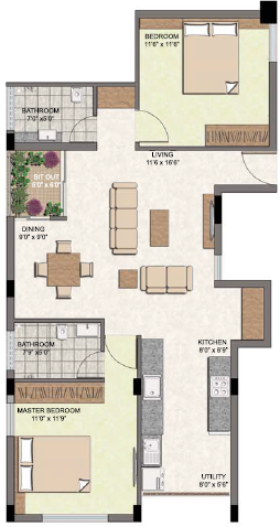 Oxygen Build Courtyard (2BHK+2T (1,104 sq ft) 1104 sq ft)