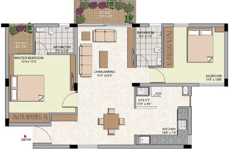 Oxygen Build Courtyard (2BHK+2T (1,198 sq ft) 1198 sq ft)