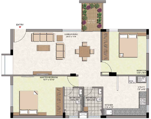 Oxygen Build Courtyard (2BHK+2T (1,167 sq ft) 1167 sq ft)