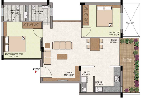 Oxygen Build Courtyard (2BHK+2T (1,133 sq ft) 1133 sq ft)