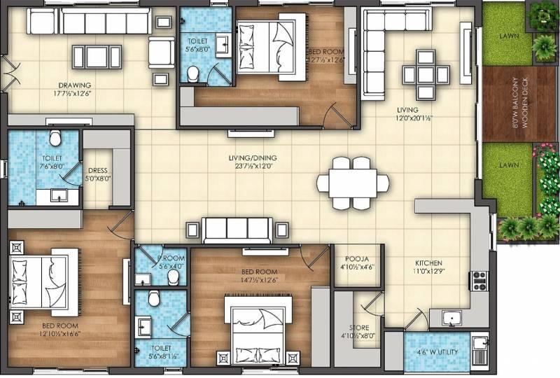 Omsree Signet (3BHK+4T (2,755 sq ft) + Servant Room 2755 sq ft)