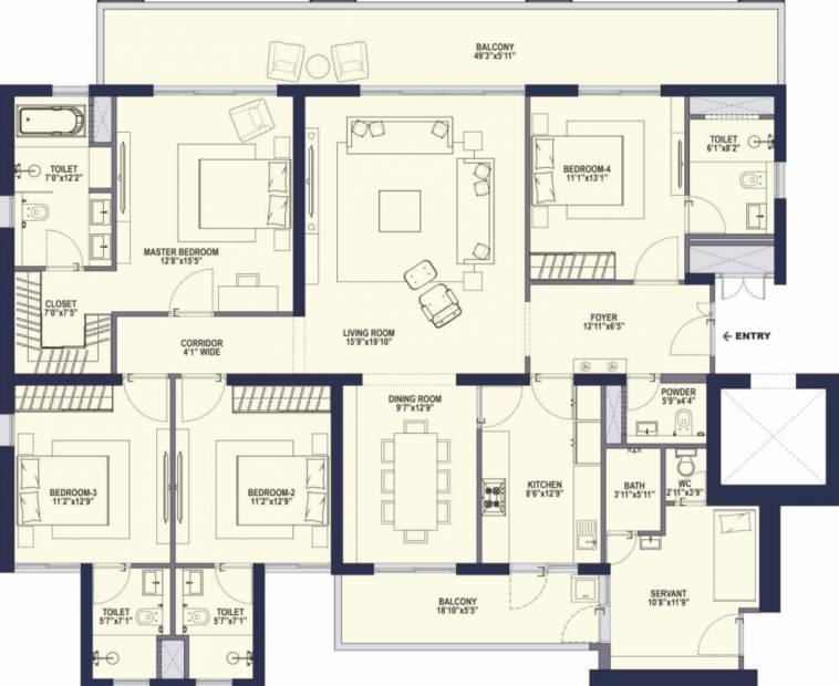 Conscient Hines Elevate (4BHK+5T (3,395 sq ft) + Servant Room 3395 sq ft)