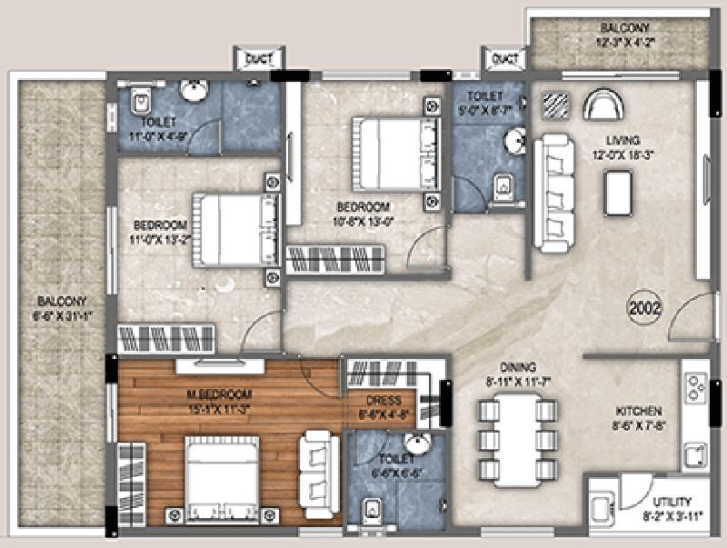 Trishala Saffron Elite (3BHK+3T (1,915.33 sq ft) 1915.33 sq ft)