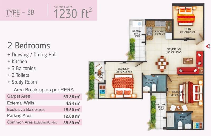 Fusion Homes (2BHK+2T (1,230 sq ft) 1230 sq ft)