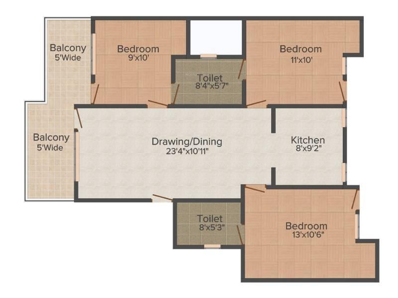 Raj villas (3BHK+3T (1,305 sq ft) 1305 sq ft)