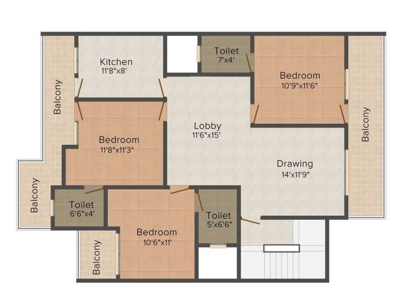 Raj villas (3BHK+3T (1,510 sq ft) 1510 sq ft)