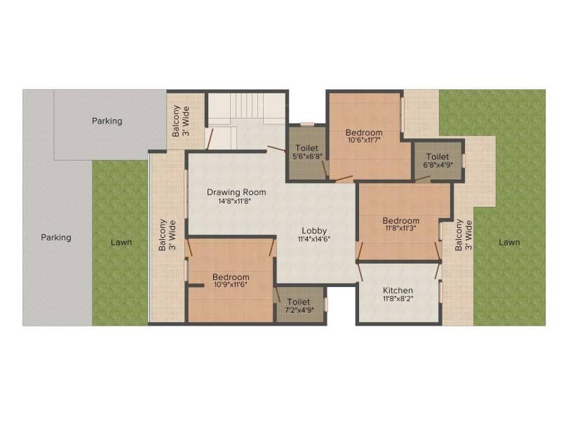 Raj villas (3BHK+3T (1,475.00 sq ft) 1475 sq ft)