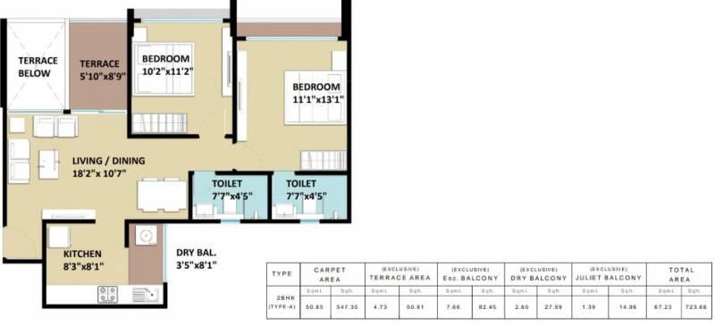 Kohinoor Sapphire (2BHK+2T (547.34 sq ft) 547.34 sq ft)