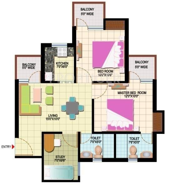 Amrapali Leisure Park (2BHK+2T (955 sq ft)   Study Room 955 sq ft)